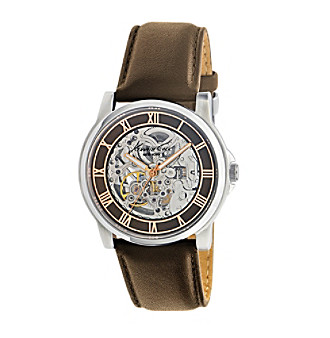 Kenneth Cole New York® Men's Round Automatic Dial Watch with Brown Leather Strap