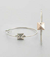Vince Camuto™ Light Rhodium Hoop Earrings with Center Pyramid Stud Detail