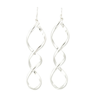 "Relativity® 2.5"" Silvertone Swirl Earrings"