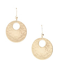 Relativity® Matte Goldtone Shimmer Drop Earrings