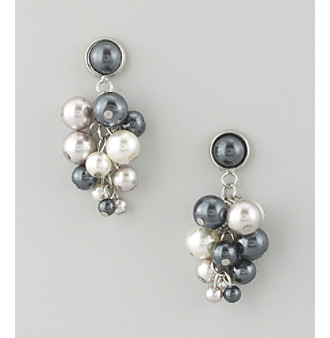 "Studio Works® 1.5"" Two Tone Cluster Drop Pearl Earrings"