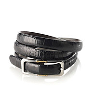 Lauren Ralph Lauren Black/Brown Croc Belt with Two Tone Buckle