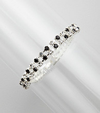 BT-Jeweled Two Row Black and White Crystal Bracelet