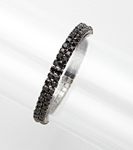 BT-Jeweled Black Two Row Stretch Bracelet