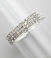 BT-Jeweled Three Row Crystal Stretch Bracelet