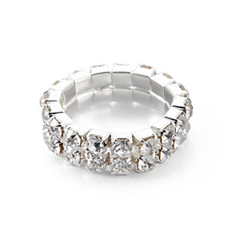 BT-Jeweled Two Row White Crystal Stretch Ring