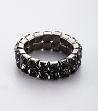 BT-Jeweled Two Row Crystal Stretch Ring - Black