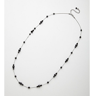 "BT-Jeweled 46"" Black Bead Necklace"