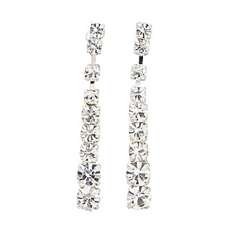 BT-Jeweled Crystal Strand Linear Drop Earrings