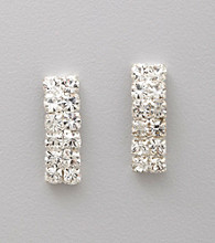 BT-Jeweled Two Row Crystal Column Earrings