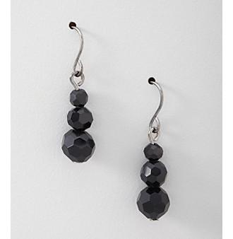 BT-Jeweled Three Bead Drop Earrings