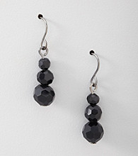BT-Jeweled Three Bead Drop Earrings
