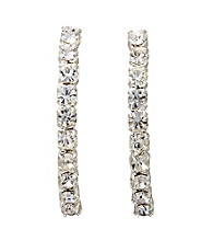 BT-Jeweled Half Hoop Crystal Earrings