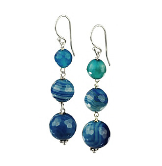 Genuine Blue Agate Round Linear Drop Earrings