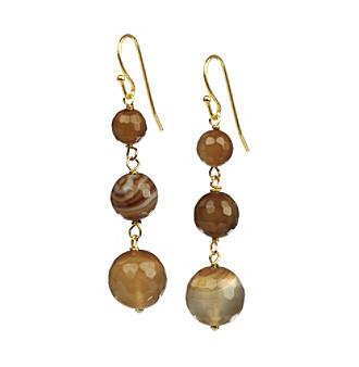 Genuine Brown Agate Ear Wire Bangle Earrings