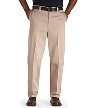 Oak Hill® Men's Big & Tall Waist-Relaxer Premium Flat-front Twill Pants