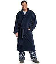 Harbor Bay® Men's Big & Tall Navy Soft-Touch Ribbed Fleece Robe