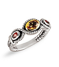 14K Gold Sterling Silver Artisan Ring - Citrine/Garnet