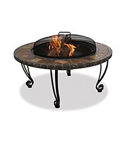 UniFlame® Slate and Marble Outdoor Firebowl with Copper Accents