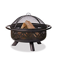 UniFlame® Oil-Rubbed Bronze Outdoor Firebowl with Geometric Design