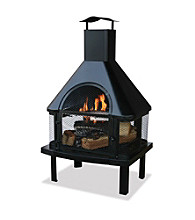 UniFlame® Black Outdoor Firehouse with Chimney