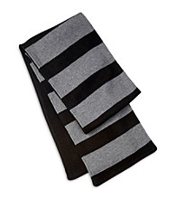 Men's Big & Tall Black/Gray Stripe Knit Scarf