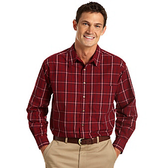 Canyon Ridge® Men's Big & Tall Easy-Care Red Plaid Sport Shirt