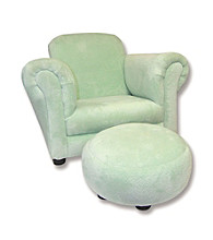 Trend Lab Velour Club Chair with Ottoman - Solid Sage