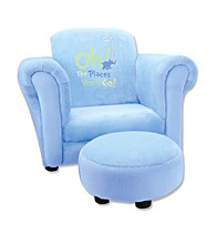Trend Lab Club Chair - Dr. Seuss® Oh! The Places You'll Go! Blue Velour