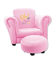 Trend Lab Club Chair - Dr. Seuss® Oh! The Places You'll Go! Pink Velour