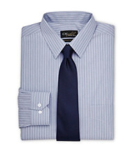 Gold Series® Men's Big & Tall Blue Aqua Wrinkle-Free Cool & Dry Stripe Dress Shirt