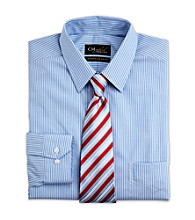 Gold Series® Men's Big & Tall White/Blue Wrinkle-Free Cool & Dry Stripe Dress Shirt