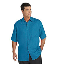 Synrgy Men's Big & Tall Textured Camp Shirt