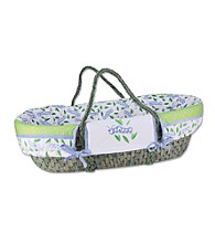 Trend Lab Moses Basket Set with Caterpillar Print Bumper and Blue Mattress Cover