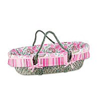 Trend Lab Moses Basket Set with Paisley Park Print Bumper and Pink Mattress Cover