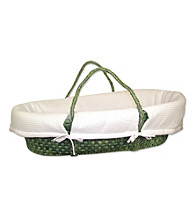 Trend Lab Sage Moses Basket Set with White Pique Bumper