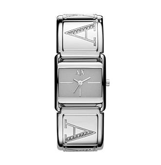A|X Armani Exchange Ladies' Silvertone Bangle Watch with Glitz