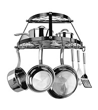 Range Kleen Black Wall-Mounted Double-Shelf Pot Rack
