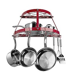 Range Kleen Red Wall-Mounted Double-Shelf Pot Rack
