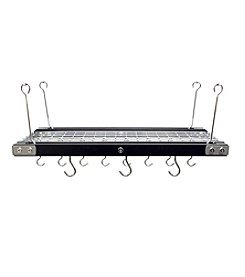 Range Kleen Black Walnut Hanging Pot Rack with Stainless Steel Accents