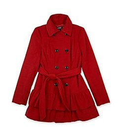 A. Byer Juniors' Double-Breasted Ruffled-Hem Coat