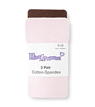 Miss Attitude Girls' Brown/Pink Tights 2-pk.