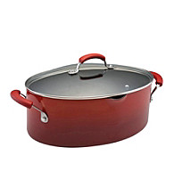 Rachael Ray® 8-qt. Two-Tone Red Covered Oval Pasta Pot