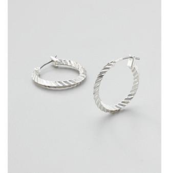 Studio Works® Silvertone Textured Hoop Earrings