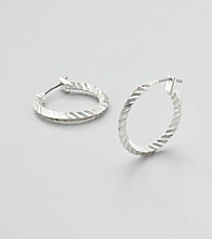 Studio Works® Silvertone Textured Hoop Earrings