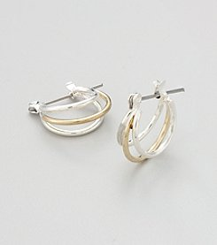 Studio Works® Two Tone Triple Hoop Earrings