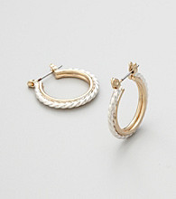 Studio Works® Silvertone Hoop Earrings with Goldtone Inlay