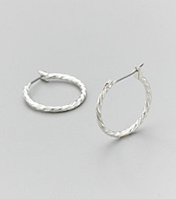 Studio Works® Braided Silvertone Hoop Earrings