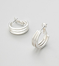 Studio Works® Silvertone Triple Hoop Earrings