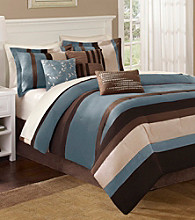 Boulder Stripe Blue 7-pc. Comforter Set by Madison Park™